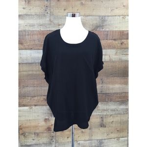 Joie Black Top 100% Silk Front Pocket blouse Small